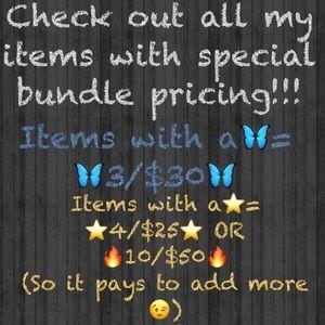 Info on bundles & sale prices, freebies & $5 add ons!!😘😻💜